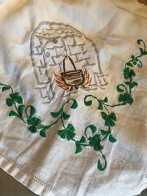 Antique Vintage Hand Embroidered Irish Small Tablecloth Clovers Shamrocks