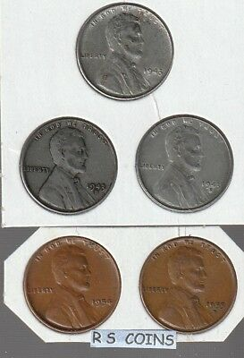 1943 + 1943D + 1943S ~  Steel  Lincoln  Cent  Set  ~Very Fines ~  Rs Coins Sale