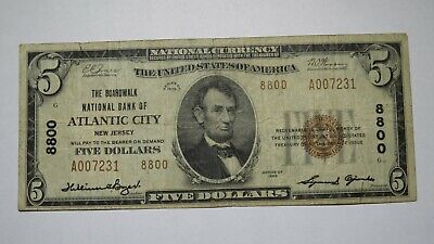 $5 1929 Atlantic City New Jersey NJ National Currency Bank Note Bill #8800 FINE
