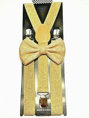 eee13e9b74f New Gold Glitter Suspenders Shiny Bow Tie Set Classic Dance Tuxedo Combo