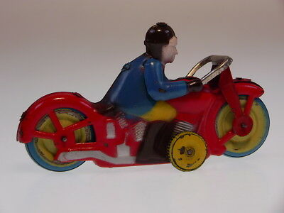 """GSMOTO """"RACING RIDER"""" OCCUPIED JAPAN 1948, 13cm, WIND UP OK, SEHR GUT/VERY GOOD"""