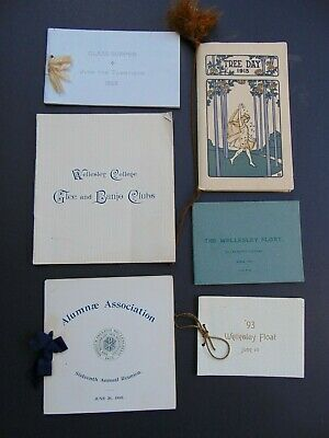 SIX ANTIQUE WELLESLEY COLLEGE PROGRAMS from the 1890's including BANJO CLUBS