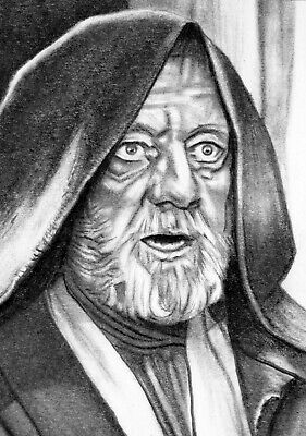 ORIGINAL ACEO sketch card STAR WARS Alec Guinness JEDI OBI-WAN KENOBI