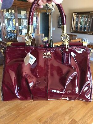 e092a54698d COACH Madison PINNACLE Carrie 21239 Patent leather satchel bag CRIMSON NWT
