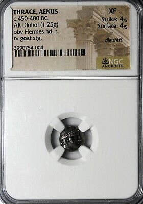 Thrace Aenus 450-400 BC AR Silver Diobol Hermes Goat NGC XF Ancient Greek Coin
