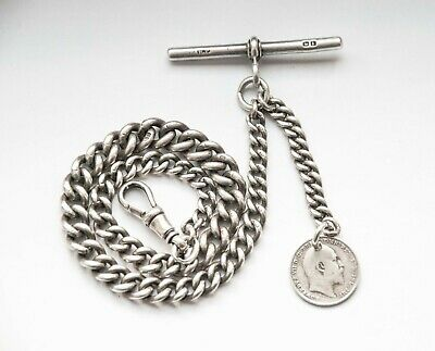 ANTIQUE SOLID SILVER GRADUATED POCKET WATCH CHAIN with 1910 SILVER COIN FOB