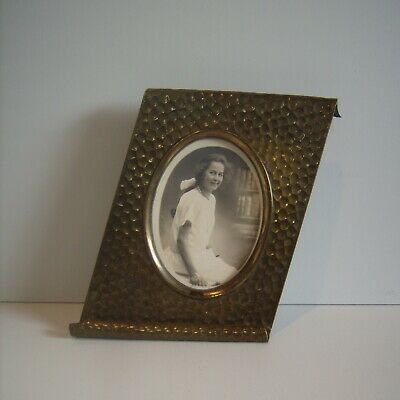 Antique Arts & Crafts / Art Nouveau Brass Hand Hammered Folk Art Photo Frame 8""