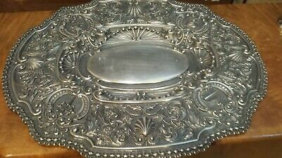 1200g XIX CENTURY STERLING SILVER TRAY CENTER MASTERPIECE HEAVY CARVING