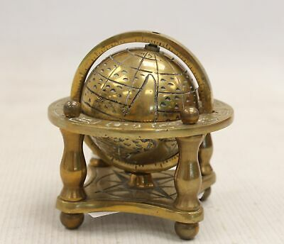 """Vintage Solid Brass Globe With Star Sign Embellishments 5"""" In Height  - D33"""