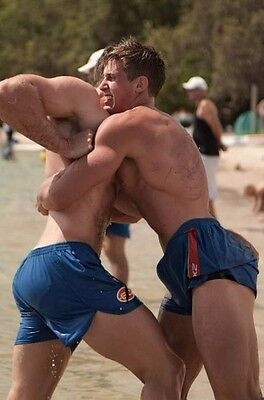 Shirtless Male Duo Wrestling Jocks Hot Abs After Match Hunk Dudes PHOTO 4X6 D867