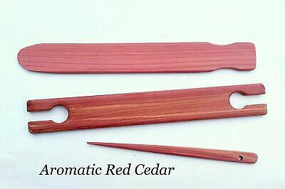 3 Piece 16 inch Aromatic Red Cedar Weaving Shuttle Pick-up Stick and Needle
