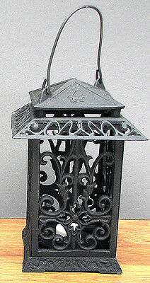 Large Cast Iron- Onate Square Lantern with Handle Candle or Tealight Patio Decor