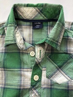 Baby Gap Boys 6-12 Months Green Plaid Button-Down Shirt with Long Sleeves