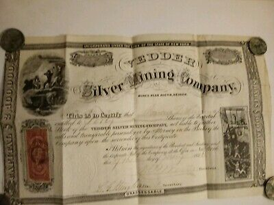1866 Yedder Silver Mining Company near Austin Nevada.  Forty shares of stock