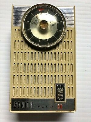 Zenith Royal 50 Transistor Radio Tan Vintage 1960's works great plays well