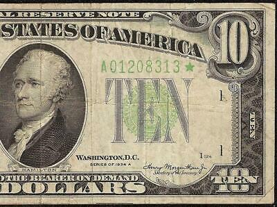 1934 A $10 DOLLAR BILL BIG STAR FEDERAL RESERVE NOTE OLD PAPER MONEY Fr 2006-A*