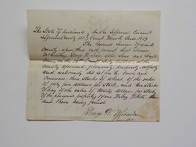 Criminal Document 1859 Set Fire To Burn Wheat Jefferson County Indiana VTG Old N