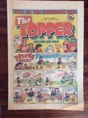 The Topper Comic  20 June 1981. No. 1481. Lovely Condition Vfn