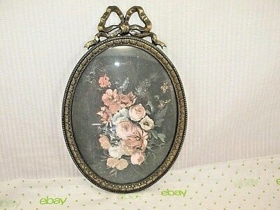 VINTAGE Ornate Cast Metal Convex Glass Frame VICTORIAN STYLE Made in Italy