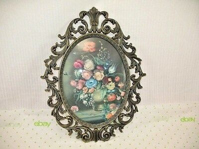 VINTAGE Ornate Cast Metal Convex Glass Frame OLD WORLD STYLE Made in Italy