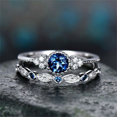 Classic 925 Silver Round Cut White Sapphire Engagement Ring Bridal Jewelry Gifts