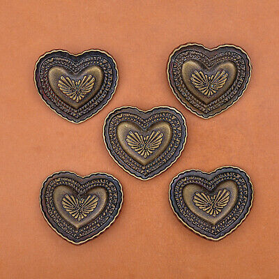 3.5X3CM 10pcs New Antique Copper Love Heart Stud Rivet Tack Conchos Leathercraft