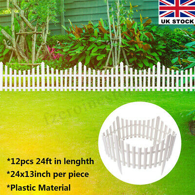 UK 12PCS Wooden Effect Lawn Border Edge Garden Edging Picket Fencing Set White