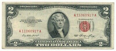 1953 US $2 Red Seal Note Block A-A aVF