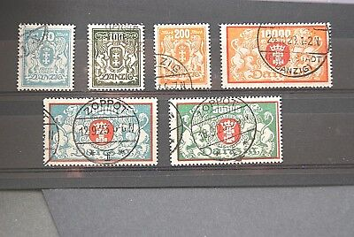 German Stamps. 1923 DANZIG SET. USED.