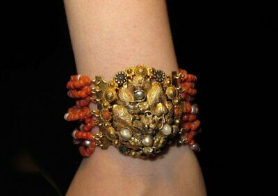 Georgian Victorian Natural Red Coral & Pearl Bracelet Very Original Clasp