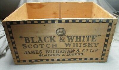 Black & White Scotch Whisky Wooden Bottle Crate Good Used Aged Condition Rare