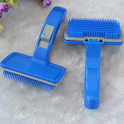 Self Clean Pet Care Hand Grooming Hair Brush Comb Clean Dogs Puppy Cat Kitten  Y