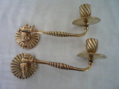 Pair Antique Brass Candlestick Holder Wall Sconce Piano Maker C & A RD 46686