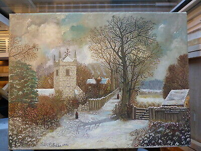 Beautiful painting represent a scene promenade autumn a louis colectte 1990