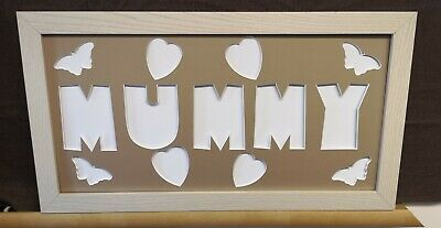 MUMMY Word Photo Mount with Frame * Mothers Day Gift * Butterflies & Hearts