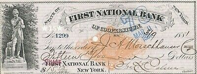 1881  FIRST NATIONAL BANK of COOPERSTOWN, NY  LEATHER STOCKINGS VIGNETTE