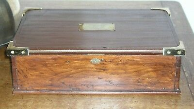Large Mahogany Campaign Style Box  Brass Flush Handles, Corners And Plaque Chest