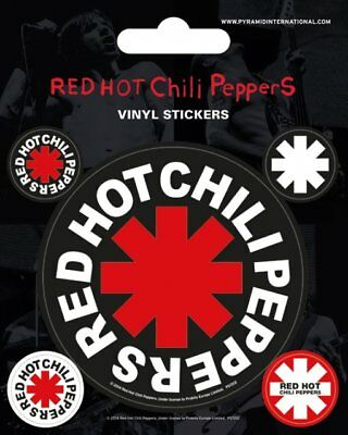 Vinyl Sticker / Aufkleber-Set RED HOT CHILI PEPPERS Logos 1x7,5cm 4x2cm NEU 7212