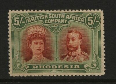 Rhodesia BSAC 1910 5/- Red / Green Double Head Stamp Unused Mounted