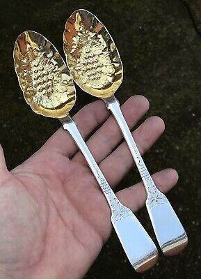 A Very Good Quality Pair Of Early Solid Silver Antique Berry Spoons, London 1827