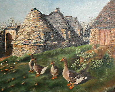1997 Rural landscape ducks oil painting signed