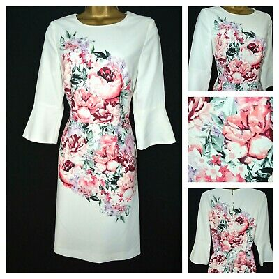 New Laura Ashley £95 Dress Shift Ivory Pink Floral Occasion Wedding Party 8 - 18