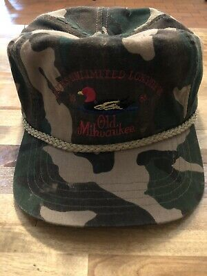 886132105b815 DUCKS UNLIMITED CAMO ROPE HAT Old Milwaukee Beer 1988 Vintage ...