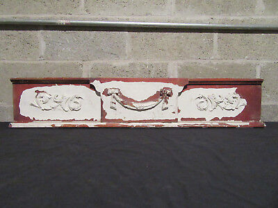 ~ Antique Carved Walnut Pediment ~ 41 Inches Wide ~ Architectural Salvage ~