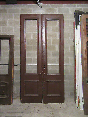 ~ HUGE ANTIQUE DOUBLE ENTRANCE FRENCH DOORS ~ 54 x 110 ~ ARCHITECTURAL SALVAGE