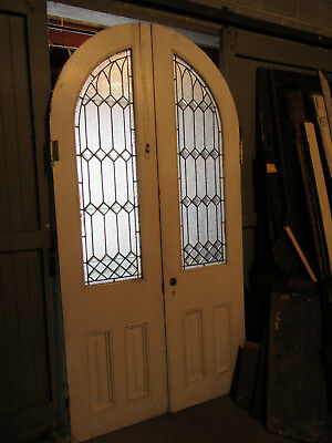 ~ Antique Oak Stained Glass Double Entrance French Doors ~ Arched Top ~Salvage ~