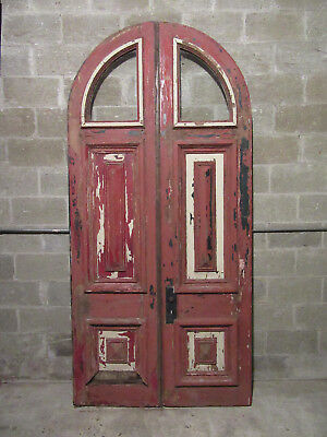 ~ Ornate Antique Arched Top Double Entrance French Doors ~ 48 X 100 ~Salvage