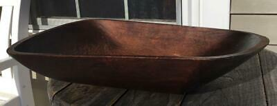"""Antique Old New England Hand Hewn Xtreme Curl Wooden Trencher Bread Bowl 20""""L"""