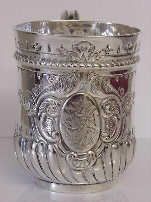 An Exquisite Antique Victorian Solid Silver Christening Mug Tankard 1894