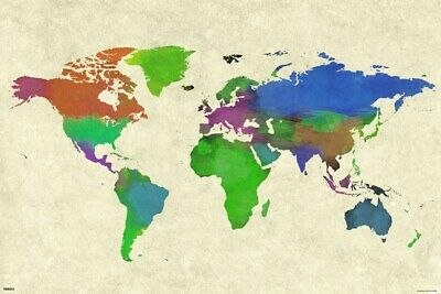 Poster World Map Watercolor 91.5x61cm